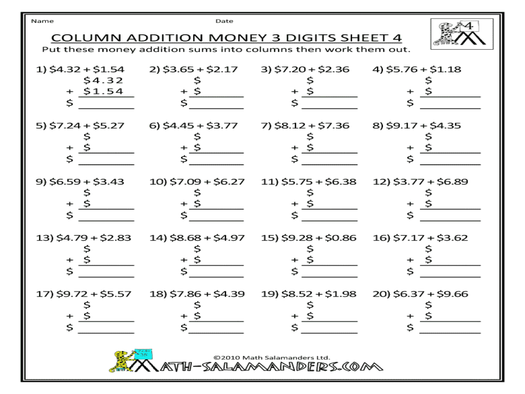 Column Addition Money 3 Digits 4th 5th Grade Worksheet – Column Addition Year 3 Worksheets