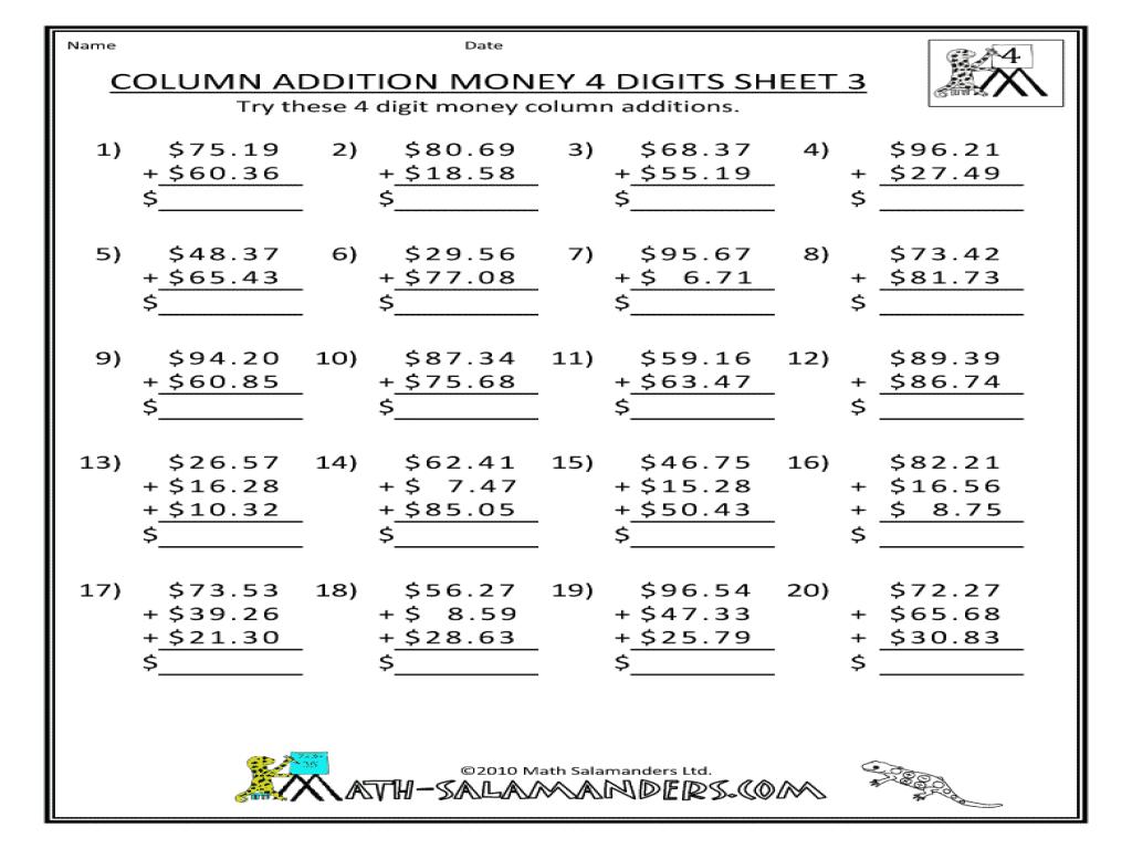 Column Addition Money4 Digits Sheet 3 3rd 4th Grade Worksheet – Column Addition Money Worksheets