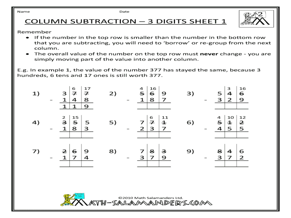 Column Subtraction 3 Digits Sheet 1 2nd 4th Grade Worksheet – Subtraction Column Method Worksheets