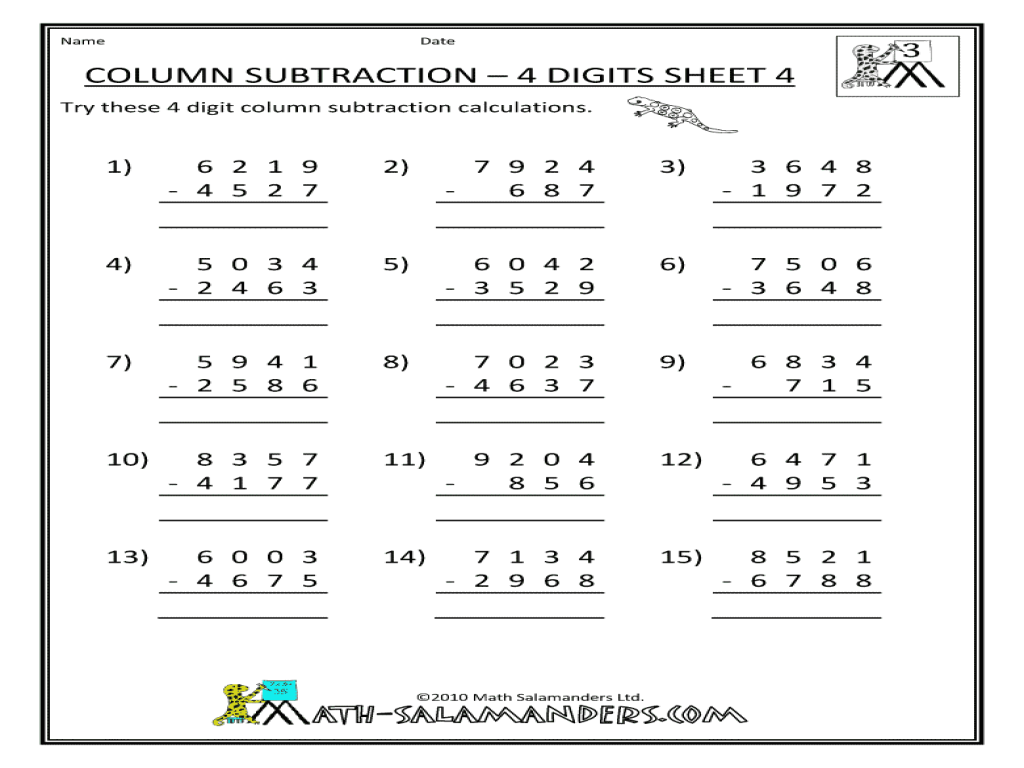 math worksheet : column subtraction  4 digits sheet 4 4th  5th grade worksheet  : Multi Digit Subtraction Worksheets