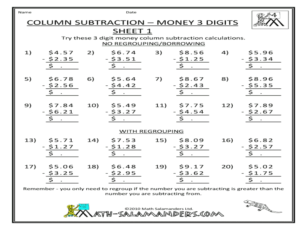 math worksheet : column subtraction  money 3 digits sheet 1 3rd  5th grade  : Column Subtraction Worksheets