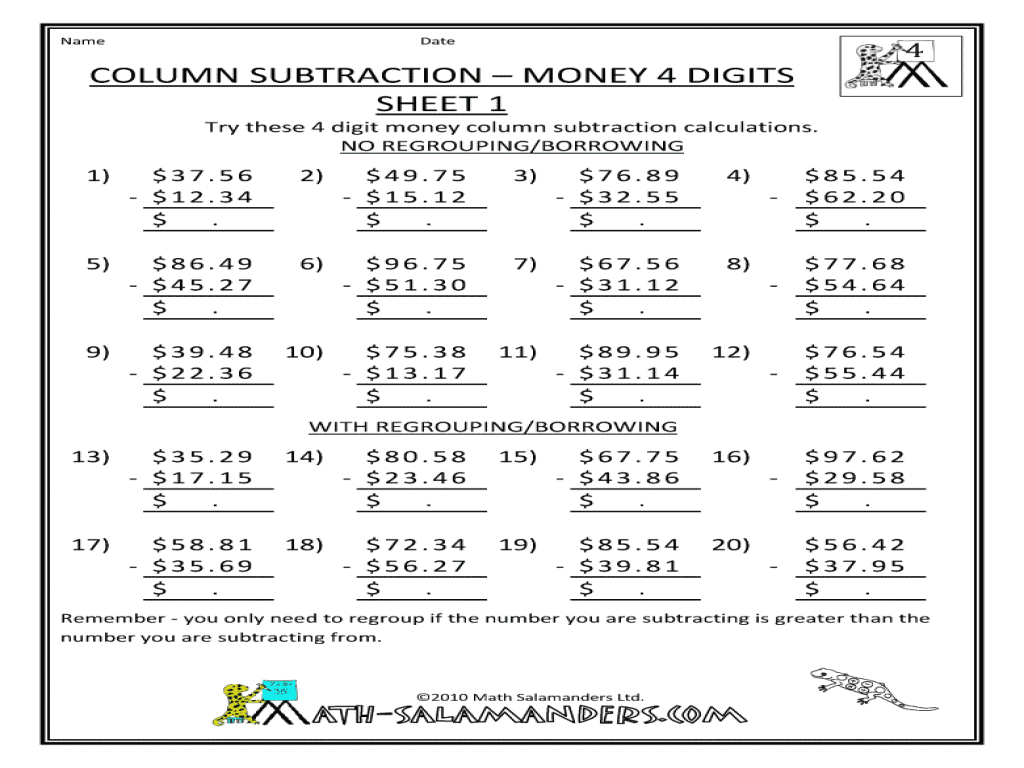 math worksheet : column subtraction  money 4 digits sheet 1 3rd  4th grade  : 4 Digit Subtraction Worksheets With Regrouping