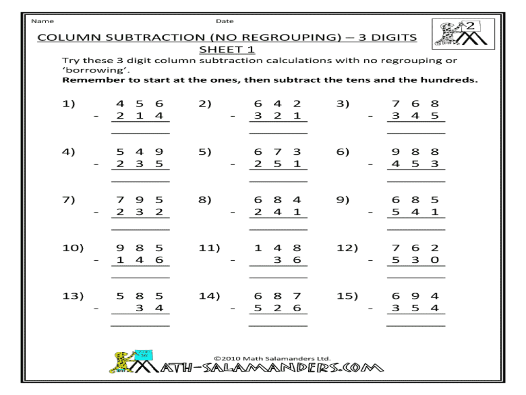 math worksheet : 2nd grade math worksheets subtraction no regrouping  worksheets  : Column Addition And Subtraction Worksheet