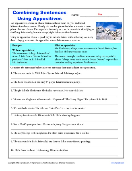 Combining sentences lesson plans middle school