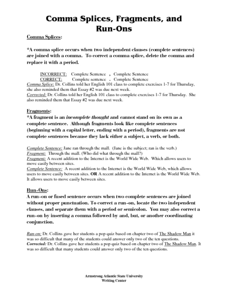 Worksheets. Fragments And Run Ons Worksheet. Chicochino ...