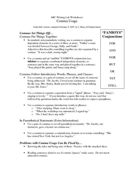 worksheets comma usage worksheet opossumsoft worksheets and printables. Black Bedroom Furniture Sets. Home Design Ideas