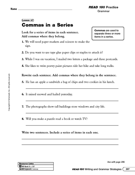 using commas in a series worksheet - Termolak