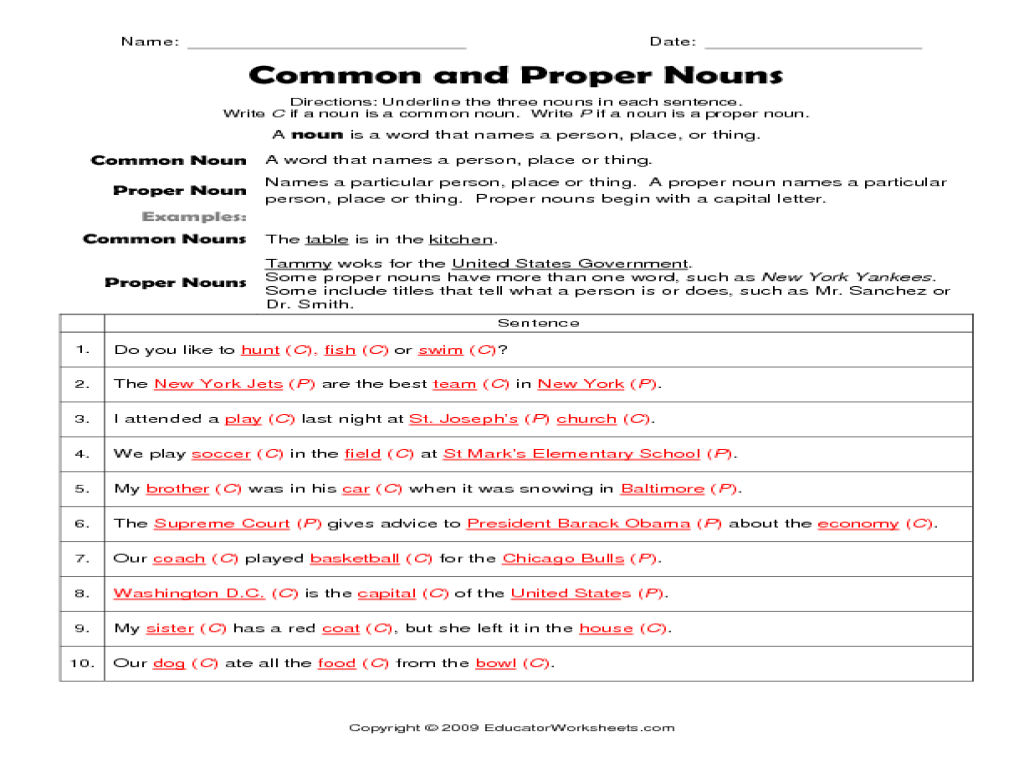 6th Grade Common And Proper Noun Worksheets Worksheet Printable Blog – Proper Noun Worksheets