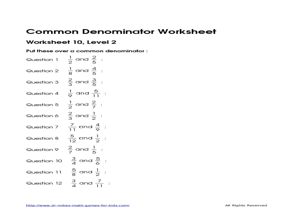 Printables Common Denominator Worksheets denominator worksheets davezan common davezan