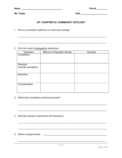 Printables Ecology Worksheets community ecology 9th higher ed worksheet lesson planet