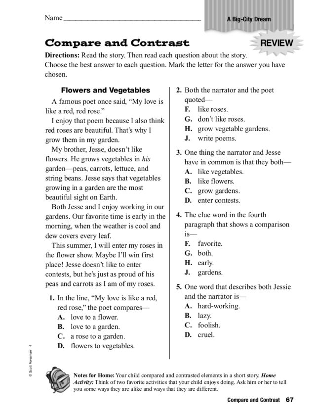 Printables Free Compare And Contrast Worksheets compare and contrast a big city dream 2nd 3rd grade worksheet lesson planet