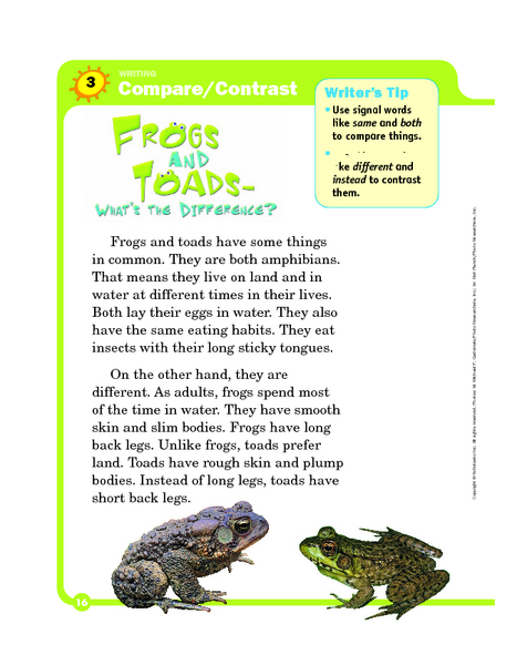 Printables Compare And Contrast Worksheets 2nd Grade compare and contrast frogs toads 2nd 4th grade worksheet lesson planet