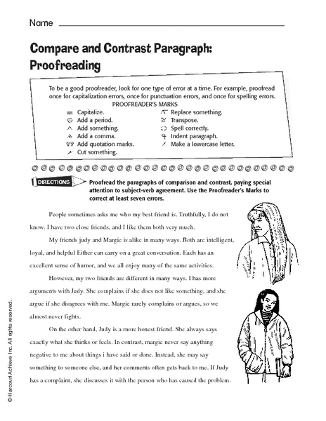 Printables Compare And Contrast Worksheets 4th Grade compare and contrast paragraph proofreading 6th 10th grade worksheet lesson planet