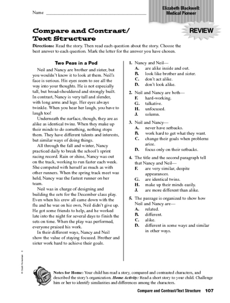 Printables Compare And Contrast Reading Worksheets compare and contrasttext structure 4th 6th grade worksheet lesson planet