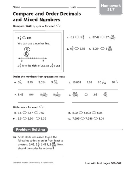 math worksheet : compare and order decimals and mixed numbers homework 4th  5th  : Comparing And Ordering Decimals Worksheet