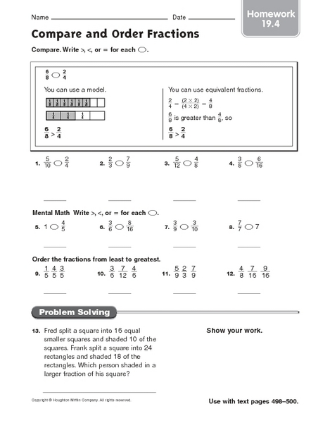 Compare and Order Fractions - Homework 19.4 4th - 5th Grade ...