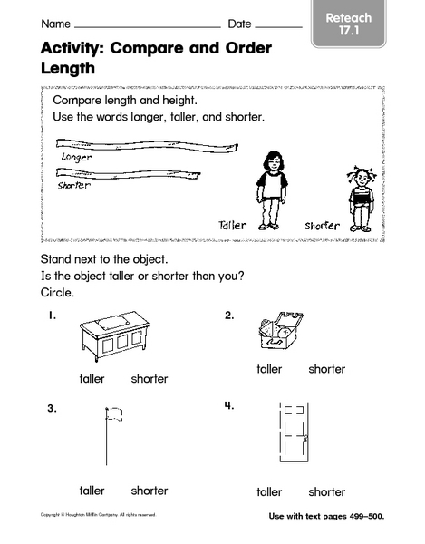 Compare And Order Lengths Worksheets Compare And Order Length