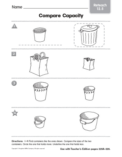 math worksheet : compare capacity reteach 12 5 pre k  kindergarten worksheet  : Kindergarten Capacity Worksheets