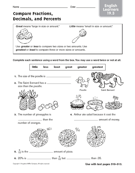 Ordering fractions decimals and percents worksheets free
