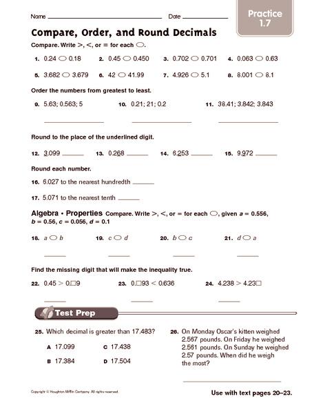 math worksheet : ordering and comparing decimals worksheets  worksheets for education : Comparing Decimal Worksheet