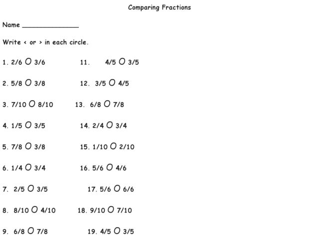 Number Names Worksheets worksheet on comparing fractions Free – Comparing Unit Fractions Worksheet