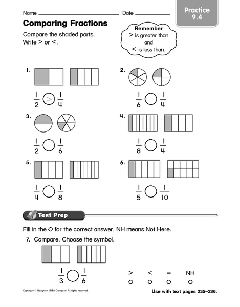 Number Names Worksheets comparing fractions worksheet with pictures : Comparing Fractions practice 9.4 4th - 5th Grade Worksheet ...