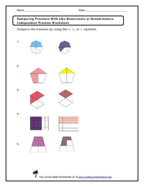 math worksheet : comparing fractions with like numerators or denominators 3rd  6th  : Comparing Fractions With Like Numerators Worksheet