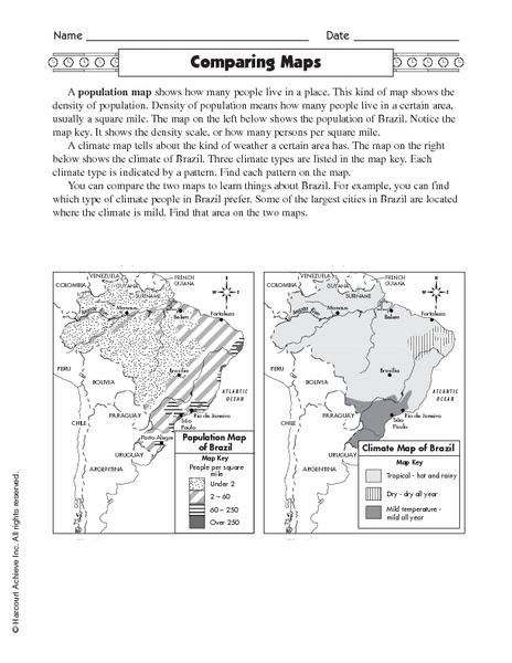 Worksheets Types Of Maps Worksheets types of maps worksheets 3rd grade intrepidpath paring brazilian rainforest 4th worksheet