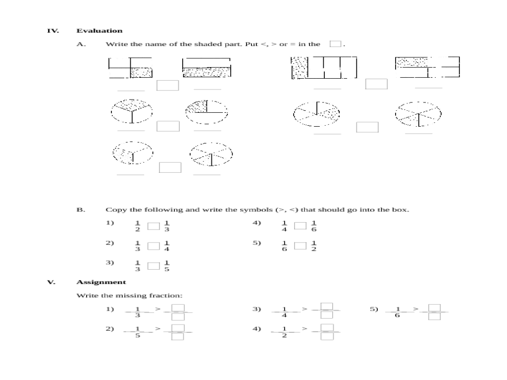 comparing unit fractions worksheets search for a. Black Bedroom Furniture Sets. Home Design Ideas