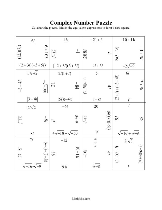 Printables Complex Numbers Worksheet complex number puzzle 9th 11th grade worksheet lesson planet