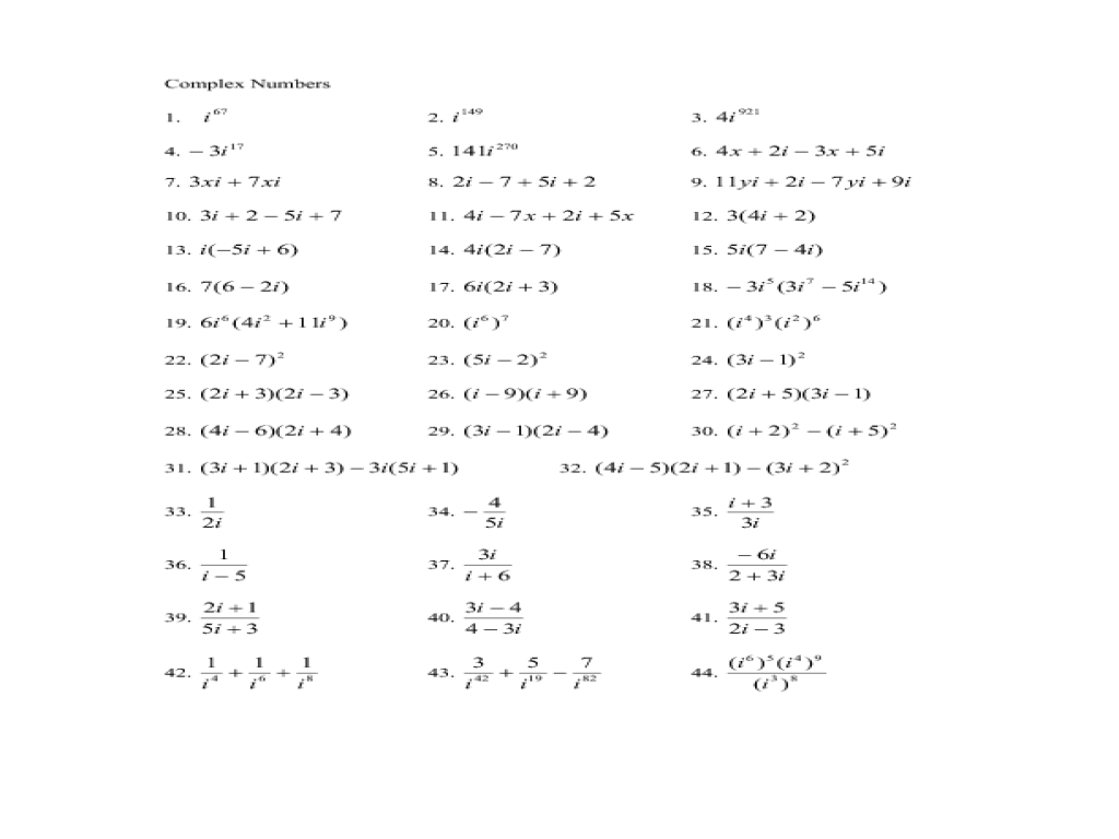 Complex Numbers 10th - 12th Grade Worksheet | Lesson Planet