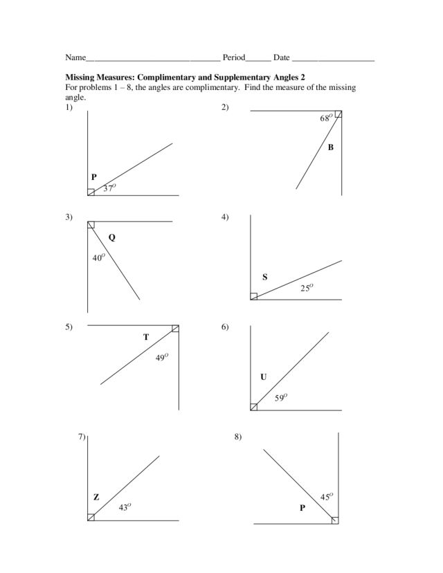 Complimentary and Supplementary Angles 9th Grade Worksheet ...