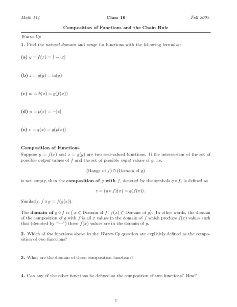 Worksheet Composition Of Functions Worksheet composition of functions and the chain rule higher ed worksheet lesson planet