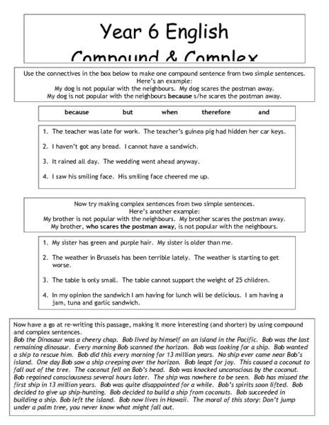 Worksheets Simple Compound And Complex Sentences Worksheet With Answers compound and complex sentences 6th grade worksheet lesson planet