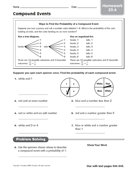 Compound Events Probability Worksheet - Davezan