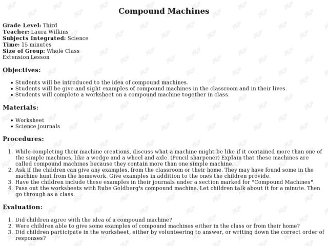 Worksheets Compound Machines Worksheet compound machines 3rd grade lesson plan planet