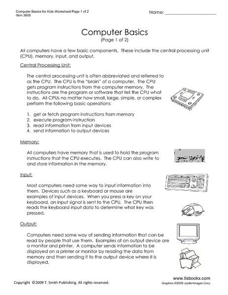 Computer Basics Worksheet Key 1789203 1cashingfo