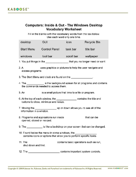 Printables Basic Computer Skills Worksheets computers inside out the windows desktop vocabulary worksheet 6th 7th grade lesson planet