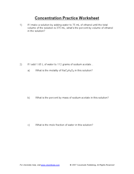 Concentration Practice 9th - 12th Grade Worksheet | Lesson Planet