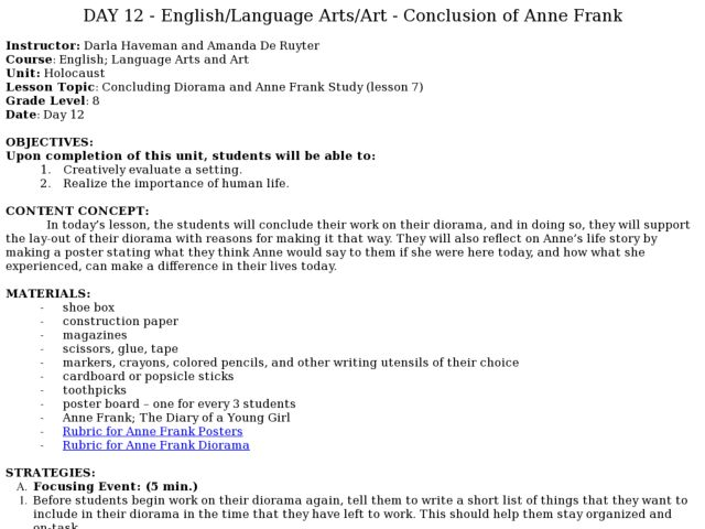 Anne frank essay thesis