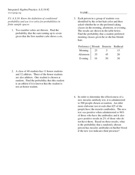 Conditional probability worksheet kuta