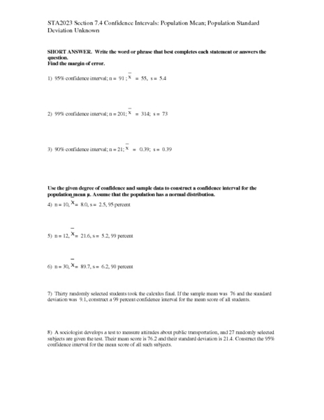 Worksheet Standard Deviation Worksheet With Answers confidence intervals population mean standard deviation unknown 12th higher ed lesson plan planet