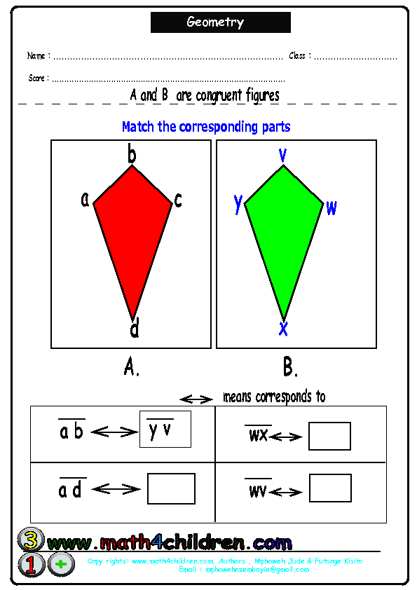 Basic congruent triangles worksheet