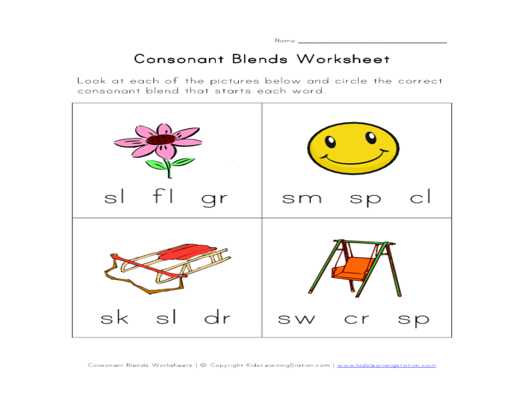 Worksheet Consonant Blends Worksheets For Kindergarten consonant blends activity kindergarten 1st grade worksheet lesson planet