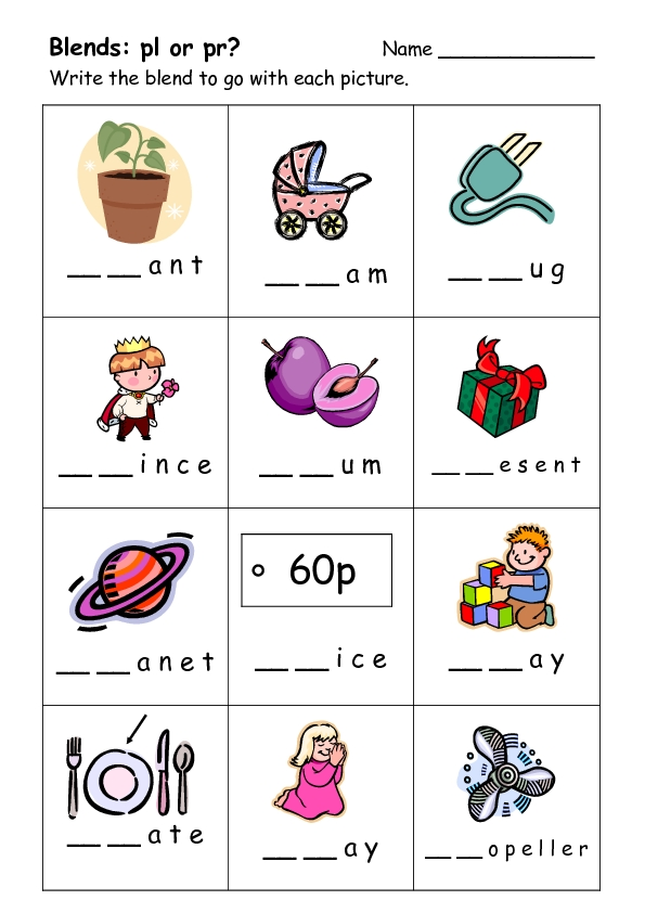 Bl blends worksheets free