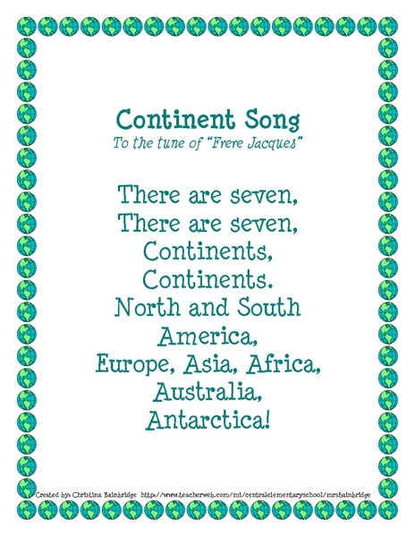 Exceptional Continent Song Kindergarten   2nd Grade Lesson Plan | Lesson Planet
