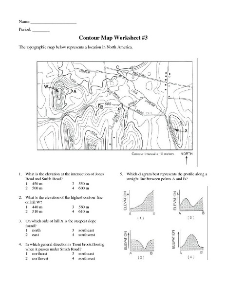 Printables Topographic Map Worksheet Answers contour map worksheet 3 6th 9th grade lesson planet