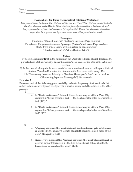 Mla Citation Worksheets Lesson Video Lesson In Text