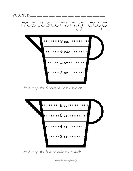 Basic Kitchen Measuring Worksheets : Cooking measurement math worksheets free customary