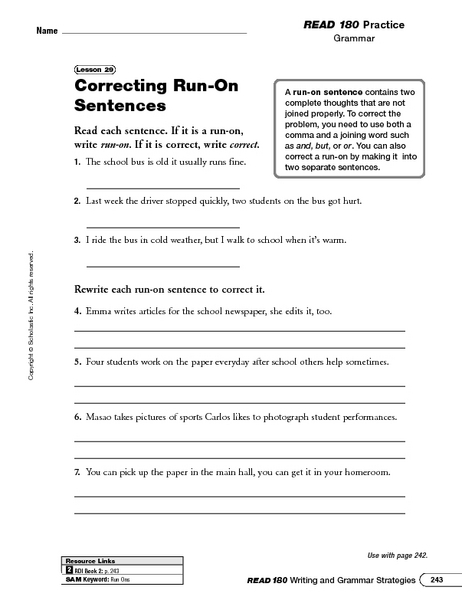 Printables Run On Sentence Worksheet correcting run on sentences 2nd 4th grade worksheet lesson planet
